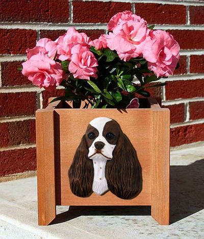 American Cocker Spaniel Planter Flower Pot Brown Parti 1