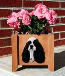 American Cocker Spaniel Planter Flower Pot Black Parti