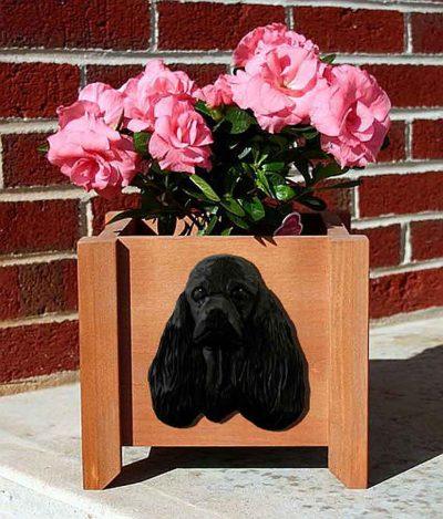 American Cocker Spaniel Planter Flower Pot Black 1