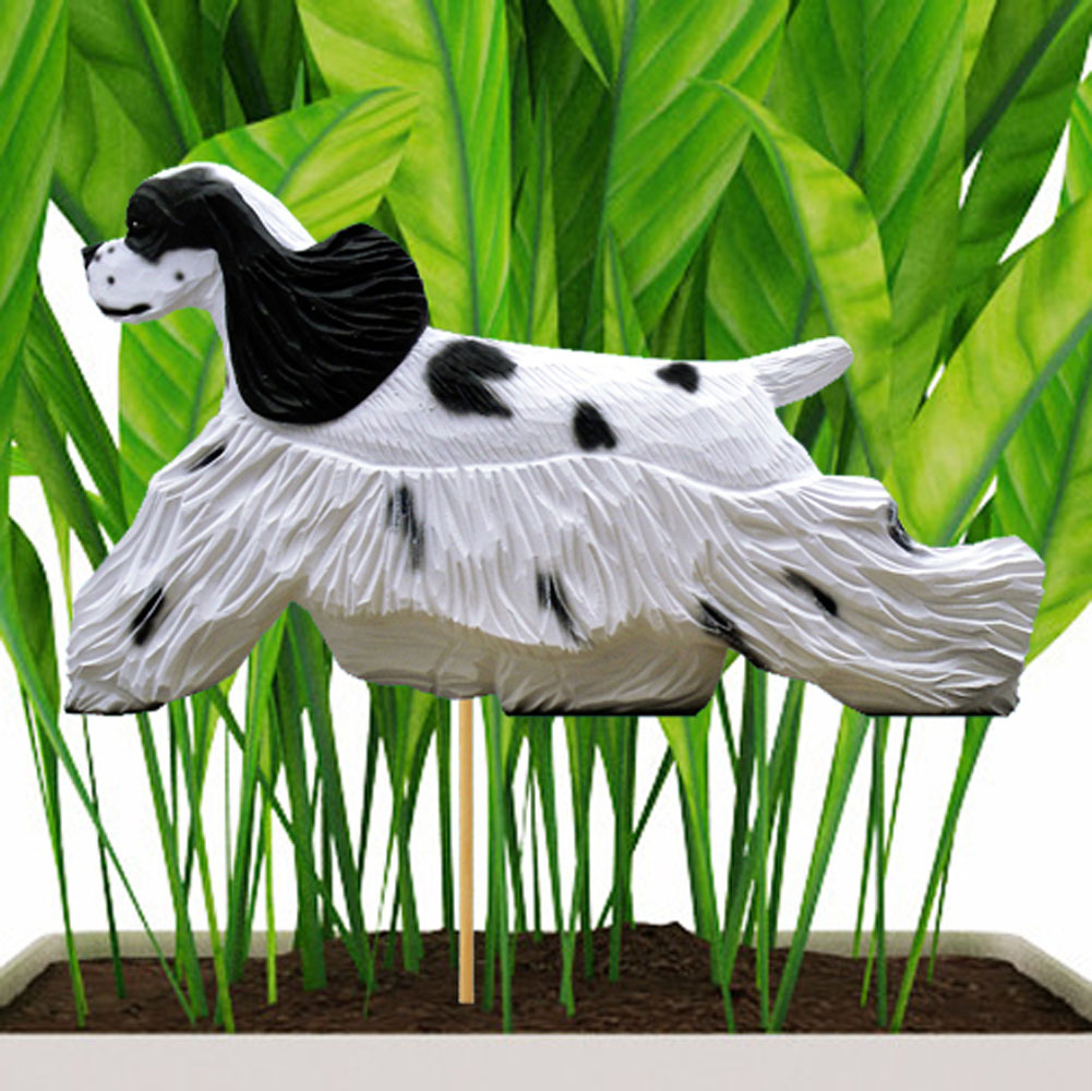 Black & White Parti American Cocker Spaniel Figure Attached to Stake to be Placed in Ground or Garden
