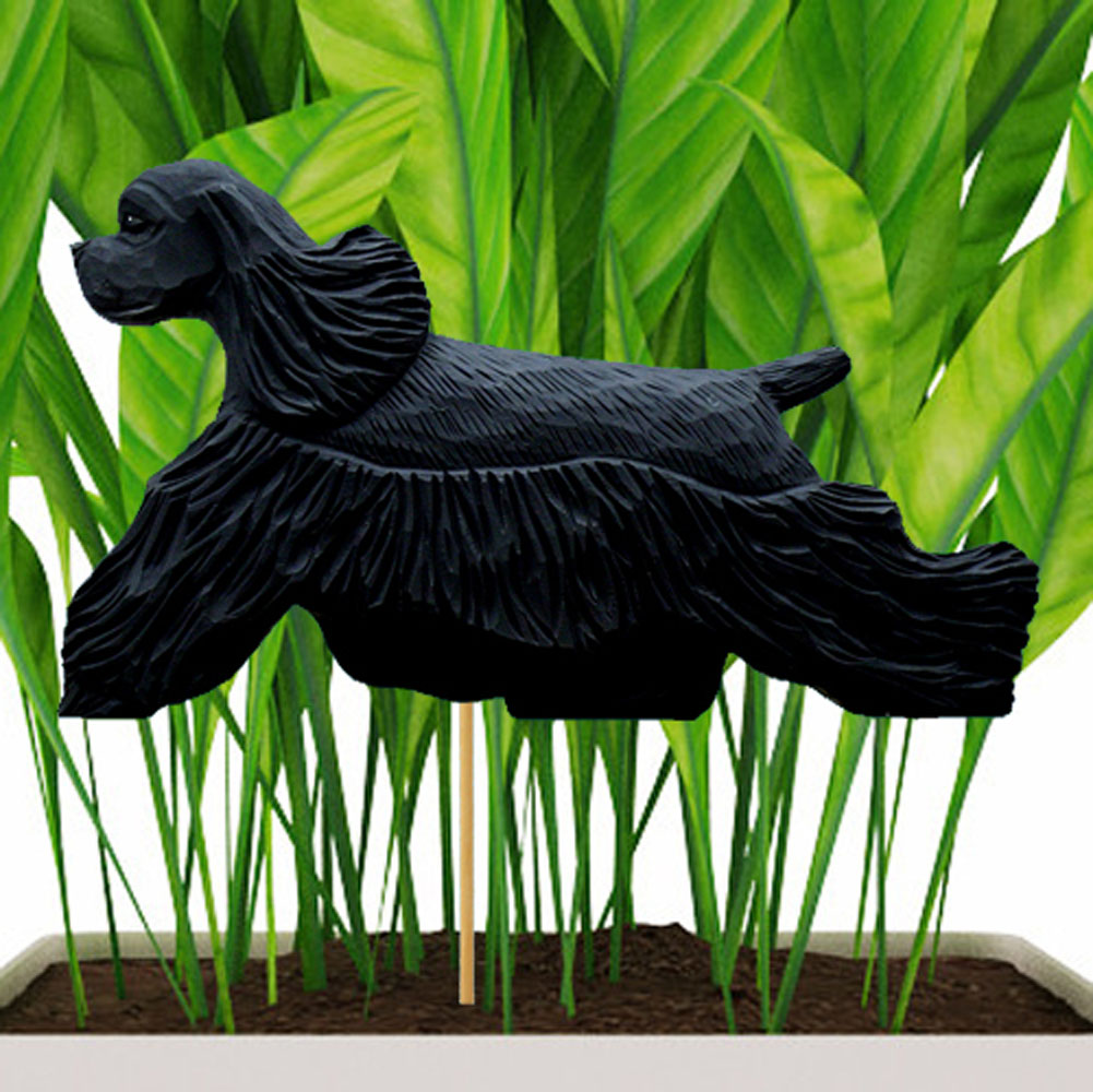 Black American Cocker Spaniel Figure Attached to Stake to be Placed in Ground or Garden