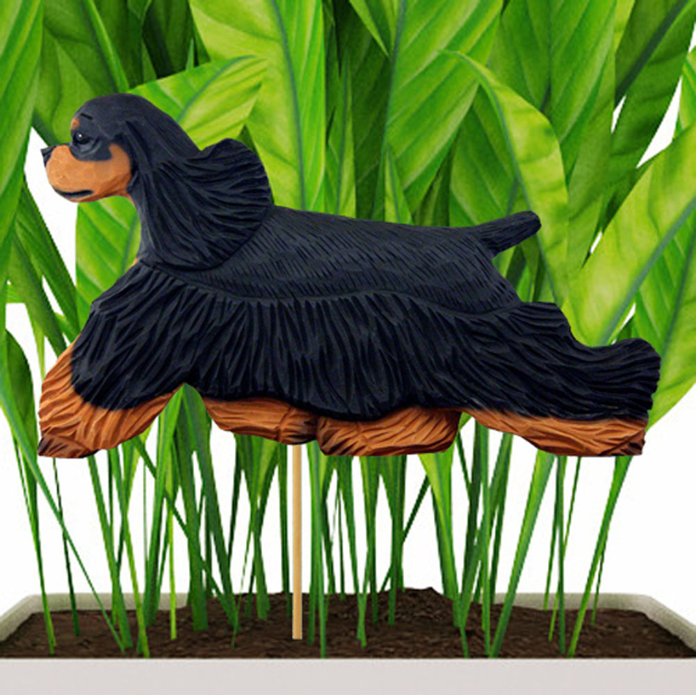 Black & Tan American Cocker Spaniel Figure Attached to Stake to be Placed in Ground or Garden