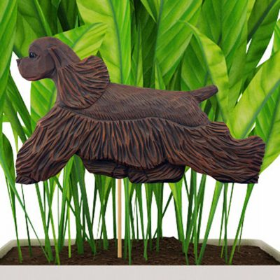 Brown American Cocker Spaniel Figure Attached to Stake to be Placed in Ground or Garden