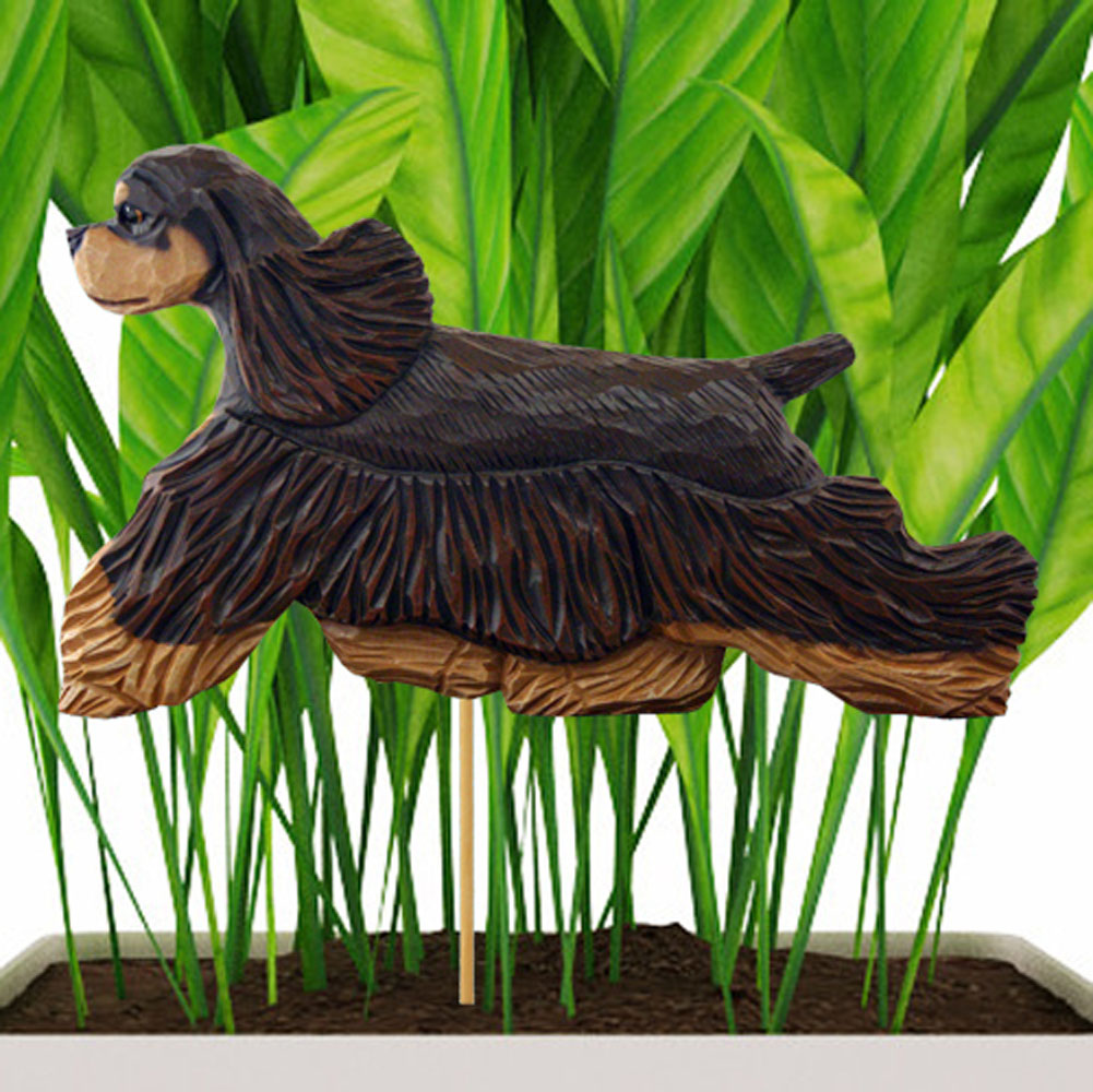 Brown & Tan American Cocker Spaniel Figure Attached to Stake to be Placed in Ground or Garden