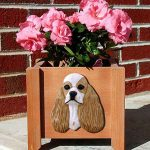American Cocker Spaniel Planter Flower Pot Buff Parti 1