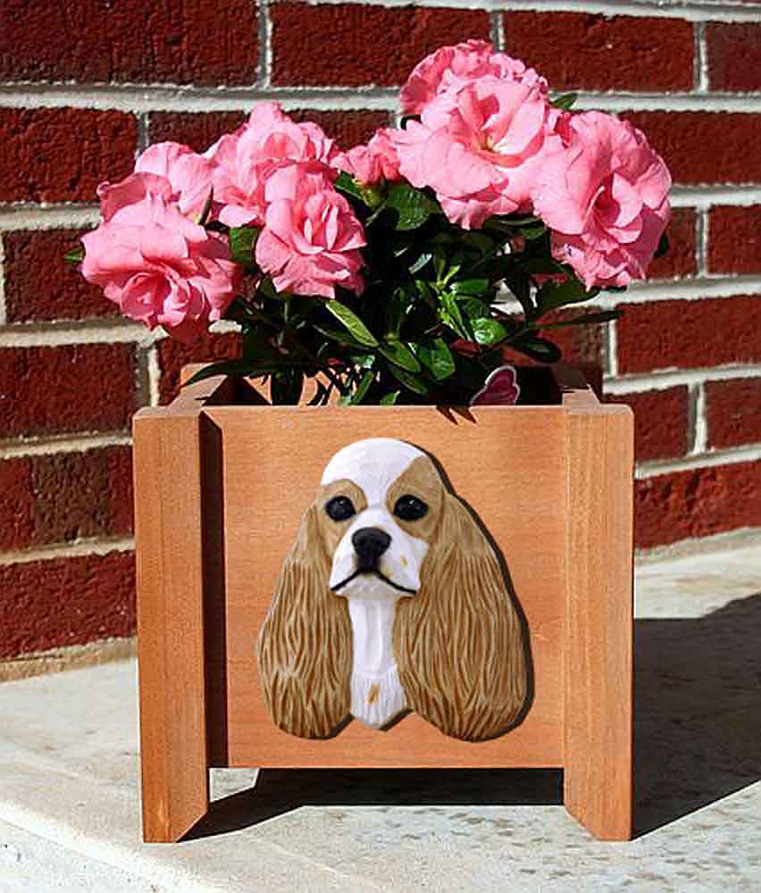 American Cocker Spaniel Planter Flower Pot Buff Parti