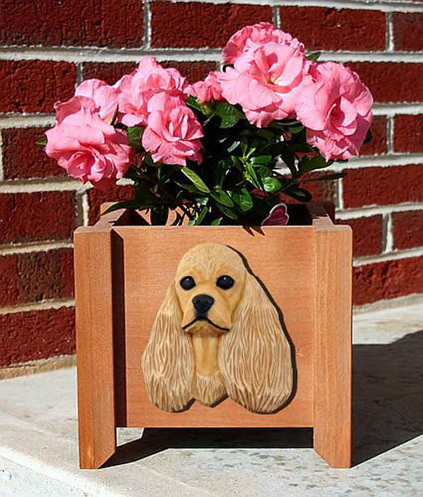 American Cocker Spaniel Planter Flower Pot Buff