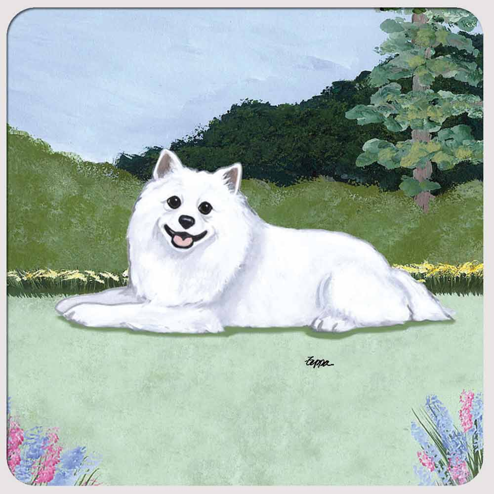 American Eskimo Yard Scene Coasters Set of 4