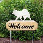 American Eskimo Outdoor Welcome Yard Sign White in Color