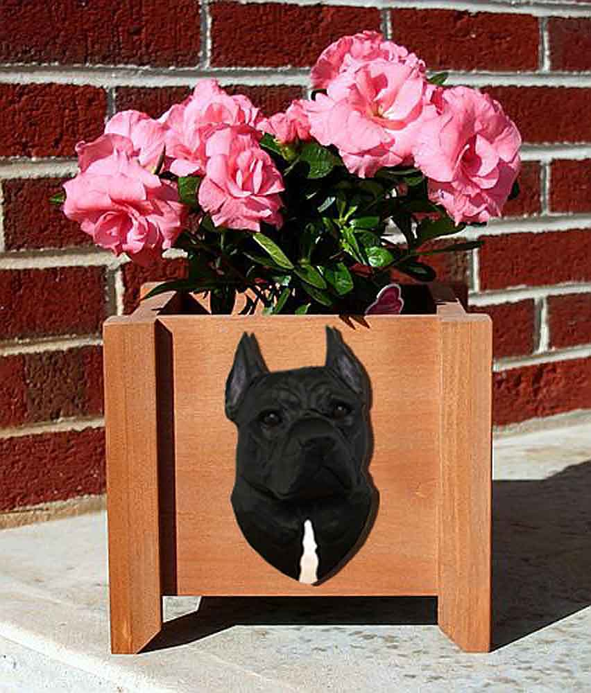 American Staffordshire Planter Flower Pot Black