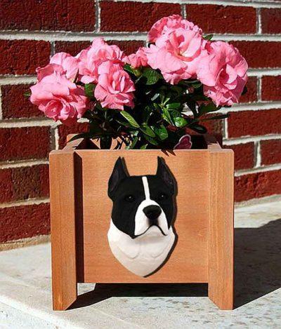 American Staffordshire Planter Flower Pot Black White 1