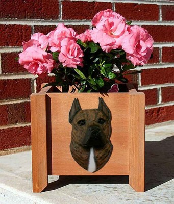 American Staffordshire Planter Flower Pot Brindle 1