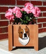 American Staffordshire Planter Flower Pot Red White