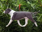 American Staffordshire Terrier Ornament Blue/White