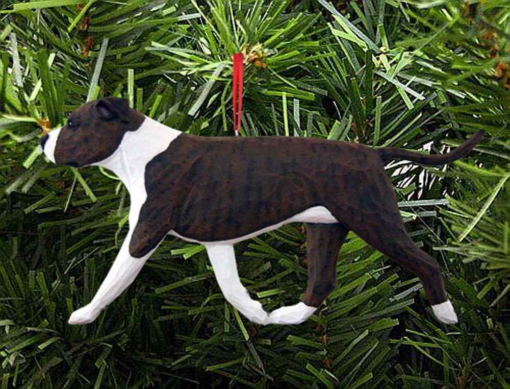 American Staffordshire Terrier Ornament Brindle/White
