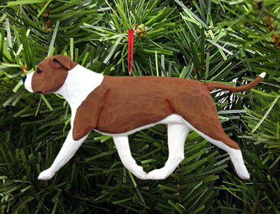 American Staffordshire Terrier Ornament Red/White 1