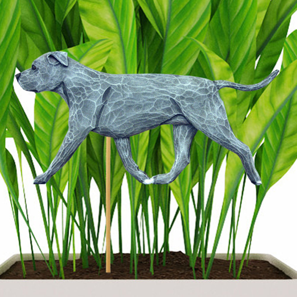 Blue Uncropped American Staffordshire Terrier Figure Attached to Stake to be Placed in Ground or Garden