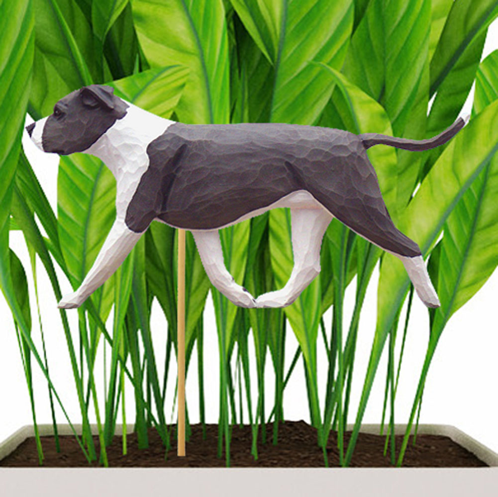 Blue & White Uncropped American Staffordshire Terrier Figure Attached to Stake to be Placed in Ground or Garden