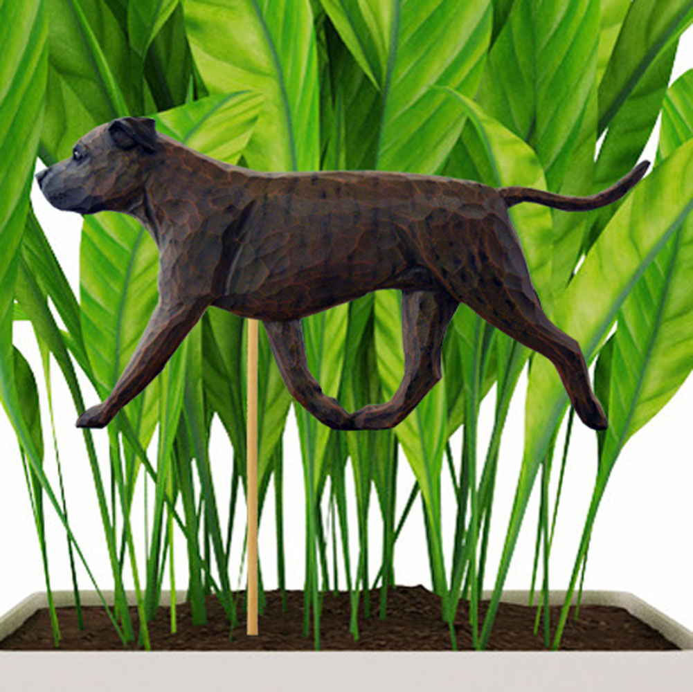 Brindle Uncropped American Staffordshire Terrier Figure Attached to Stake to be Placed in Ground or Garden