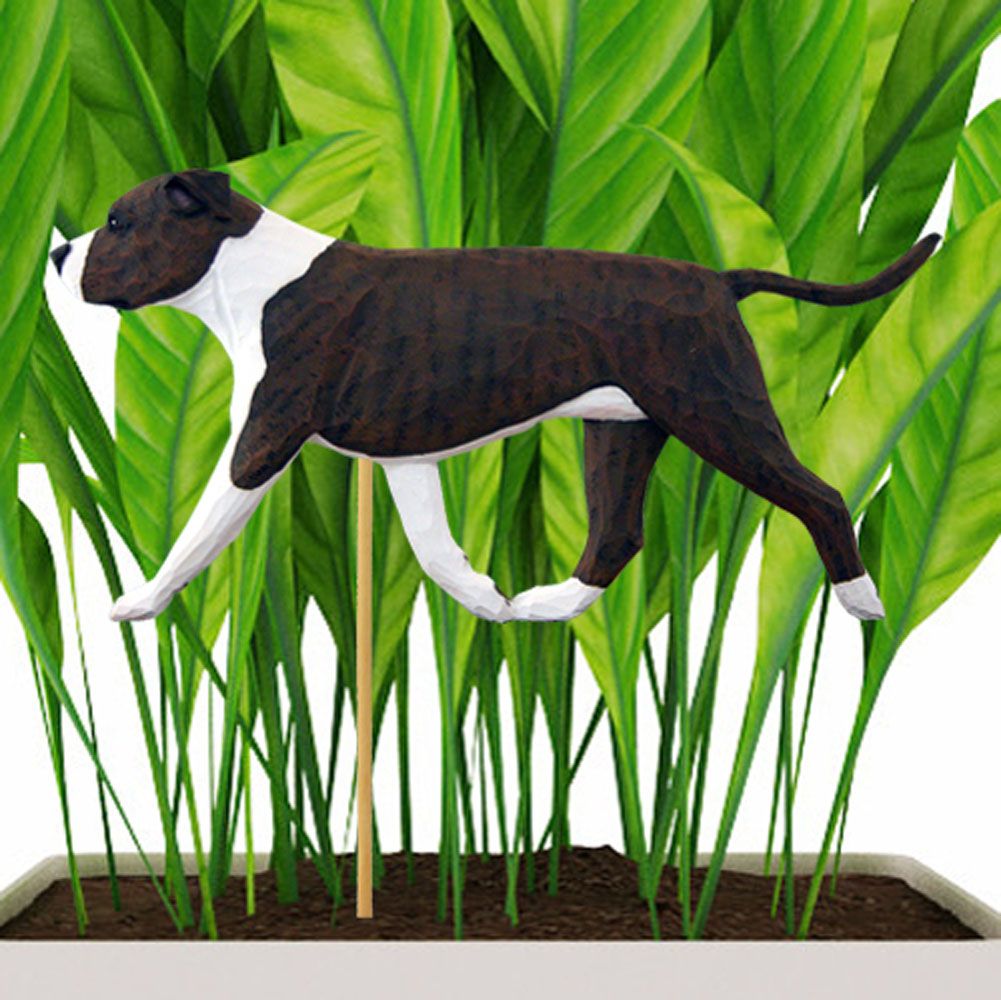 Brindle & White Uncropped American Staffordshire Terrier Figure Attached to Stake to be Placed in Ground or Garden