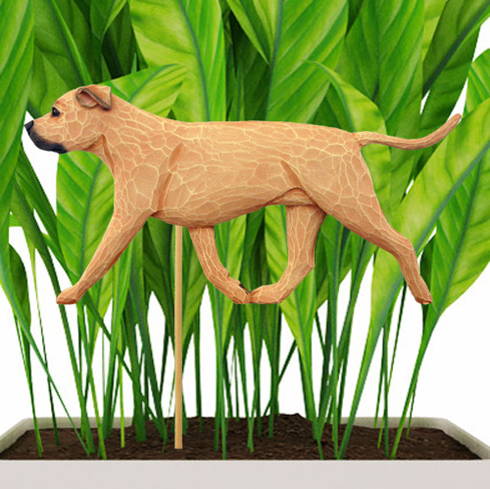 Fawn Uncropped American Staffordshire Terrier Figure Attached to Stake to be Placed in Ground or Garden
