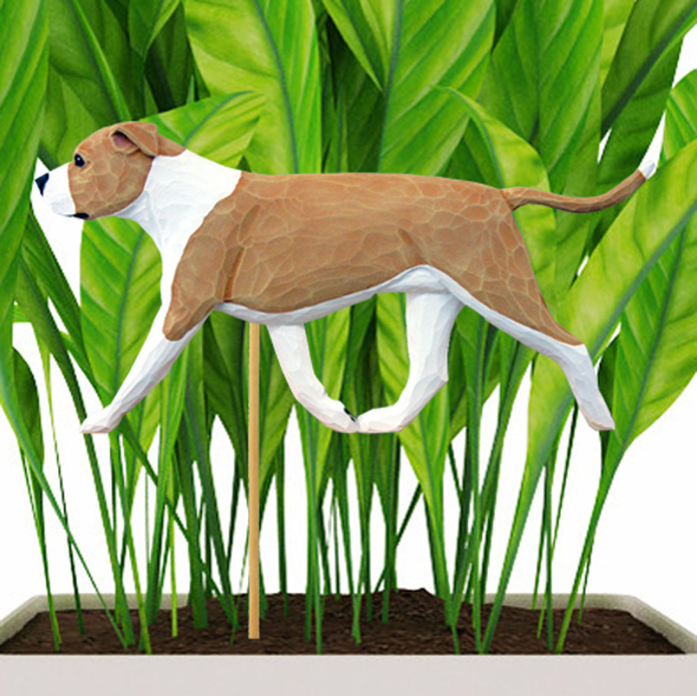 Fawn & White Uncropped American Staffordshire Terrier Figure Attached to Stake to be Placed in Ground or Garden