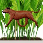 Red Uncropped American Staffordshire Terrier Figure Attached to Stake to be Placed in Ground or Garden