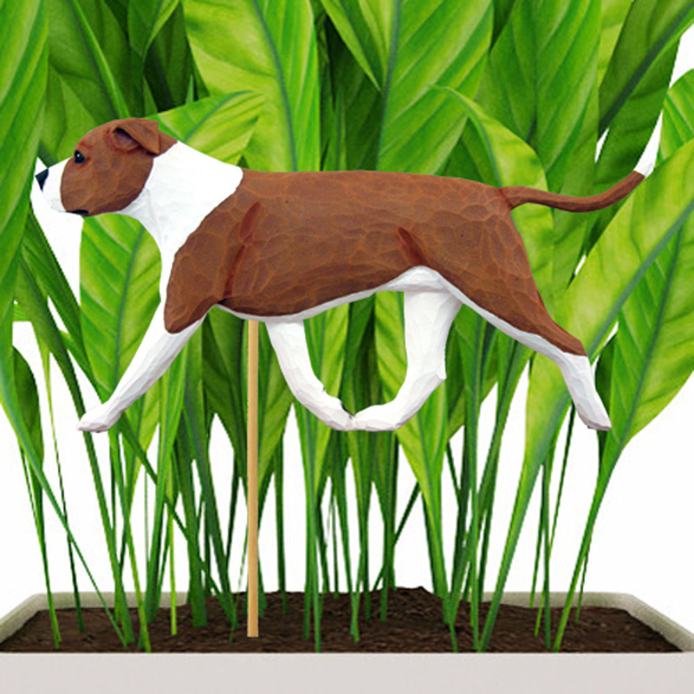 Uncropped Red & White American Staffordshire Terrier Figure Attached to Stake to be Placed in Ground or Garden
