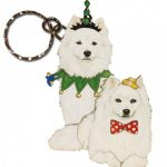 American Eskimo Wooden Dog Breed Keychain Key Ring