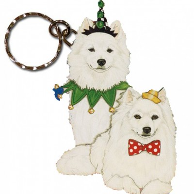 American Eskimo Wooden Dog Breed Keychain Key Ring