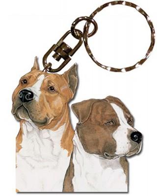 American Staffordshire Terrier Wooden Dog Breed Keychain Key Ring 1