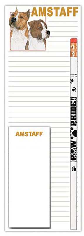 American Staffordshire Terrier Dog Notepads To Do List Pad Pencil Gift Set