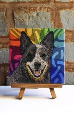 Australian Cattle Dog Blue Colorful Portrait Original Artwork on Ceramic Tile 4x4 Inches