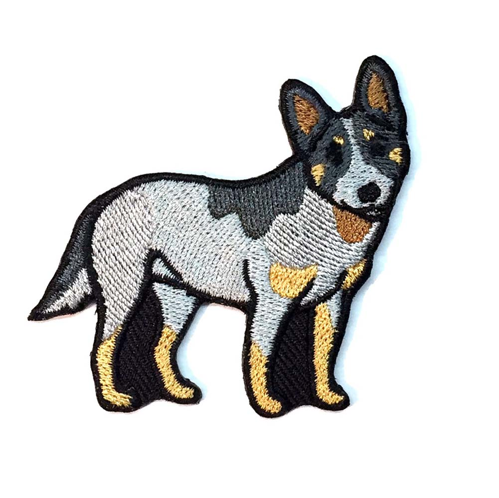 Australian Cattle Dog Iron on Embroidered Patch Blue