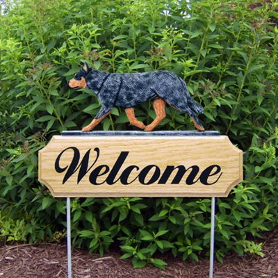 Australian Cattle Dog Outdoor Welcome Yard Sign Blue in Color