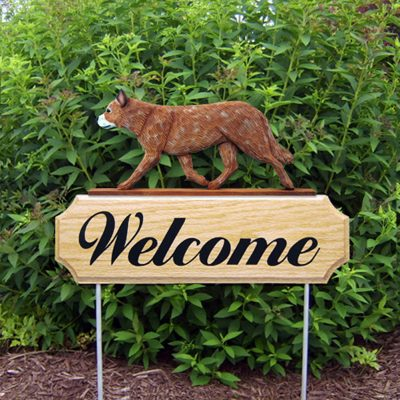 Australian Cattle Dog Outdoor Welcome Yard Sign Red in Color