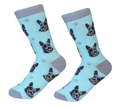 Australian Cattle Dog Face Pattern Socks Blue