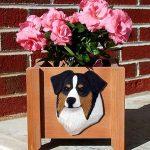 Australian Shepherd Planter Flower Pot Black Tri 1