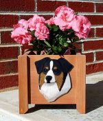 Australian Shepherd Planter Flower Pot Black Tri