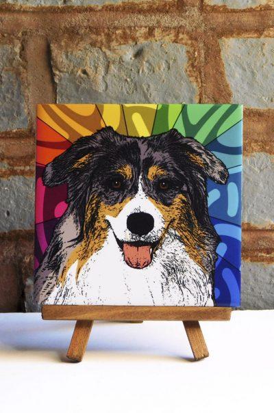 Australian Shepherd Tri Color Colorful Portrait Original Artwork on Ceramic Tile 4x4 Inches
