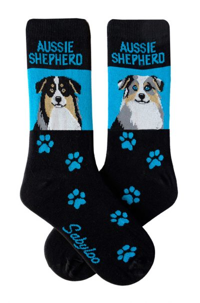 Australian Shepherd Tri Color & Blue Merle Socks Blue and Black in Color