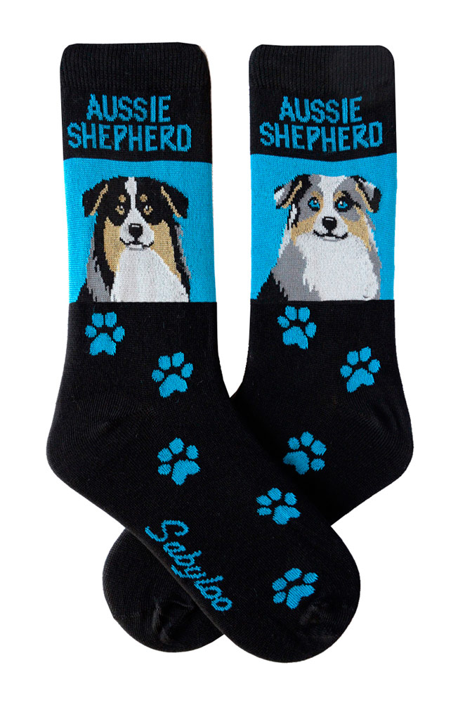 Australian Shepherd Tri Color & Blue Merle Socks Blue and Black in Color
