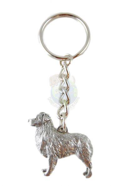 Australian Shepherd Pewter Keychain