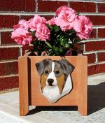 Australian Shepherd Planter Flower Pot Red Merle