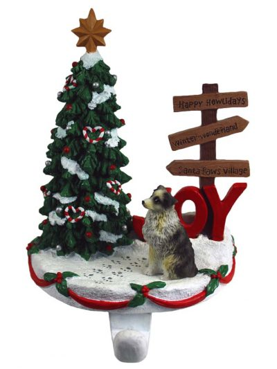 Australian Shepherd Stocking Holder Hanger Blue Docked Tail