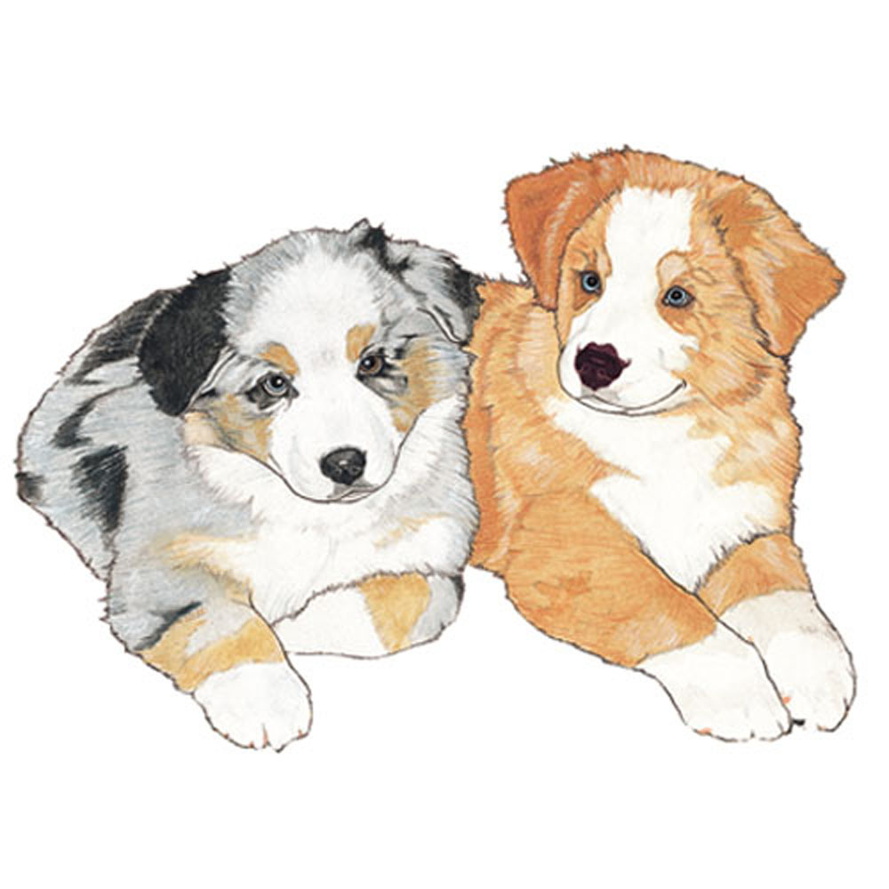 Australian Shepherd Wooden Magnet Puppy Blue and Red Merle