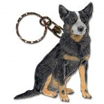 Australian Cattle Dog Wooden Dog Breed Keychain Key Ring