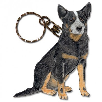 Australian Cattle Dog Wooden Dog Breed Keychain Key Ring 1