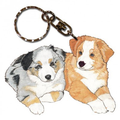 Australian Shepherd Wooden Dog Breed Keychain Key Ring 1