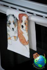 Australian Shepherd Kitchen Hand Towel Puppy